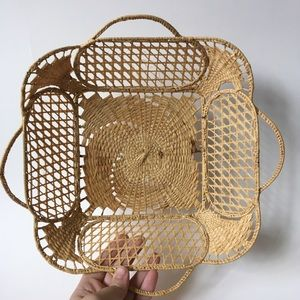 Vintage Woven Ornate Basket Tray